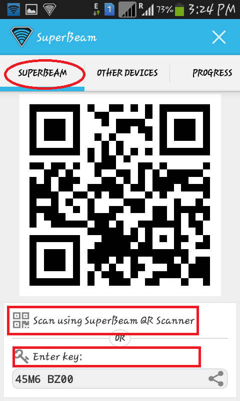 download-Super-beam-android-application-from-google-playstore-to-share-files-and-folder-by-scanning-qr-code-or-auto-generated-key-by-sending-android-device